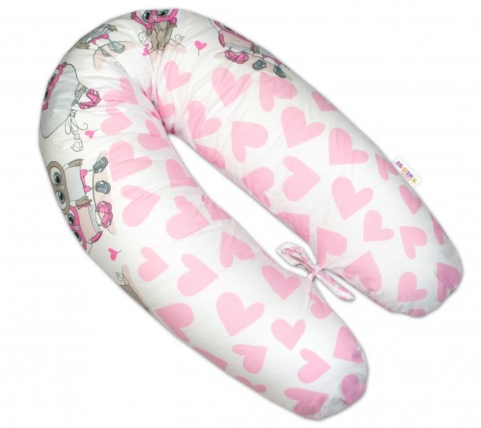Baby Nellys Kojící polštář - relaxační poduška Multi Cute Owls - růžový