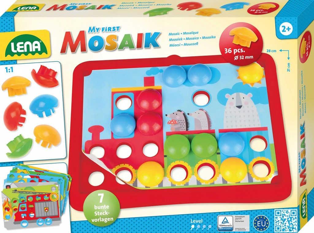 LENA Baby mozaika Doprava klouboučky 36ks + předlohy 7ks v krabici