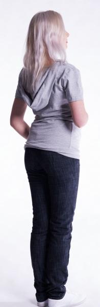 Be MaaMaa Těhotenské a kojící triko s kapucí, kr. rukáv - šedý melír