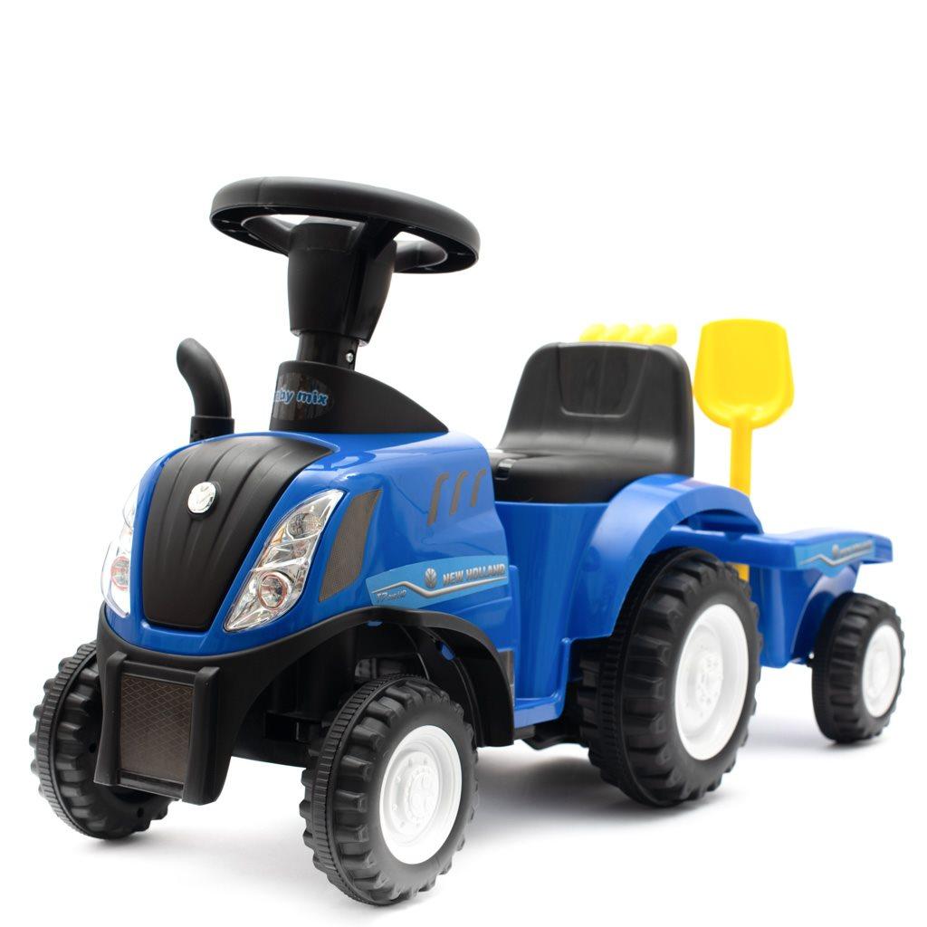 Dětské odrážedlo traktor s vlečkou a nářadím Baby Mix New Holland