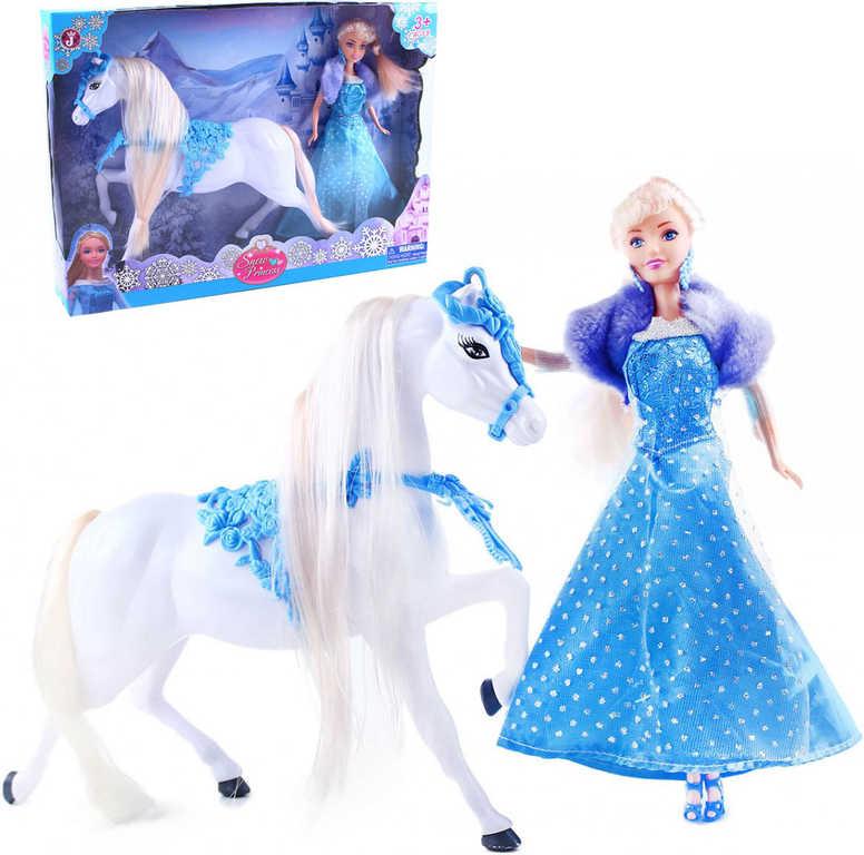 Panenka sněhová princezna 29cm zimní set s koněm plastový