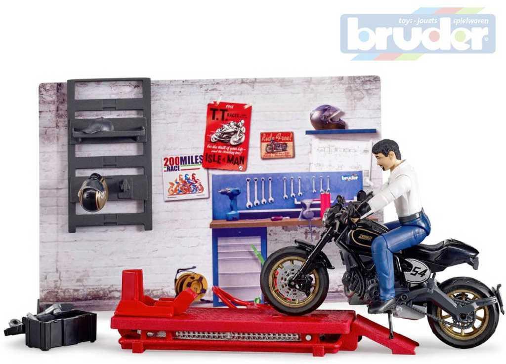 BRUDER 62101 Bworld Motodílna set motocykl + figurka s doplňky 1:16 plast