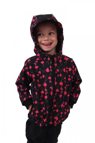 JOŽÁNEK Dětská softshellová bunda, plameňáci, černá, vel. 128 - 128 (7-8r)