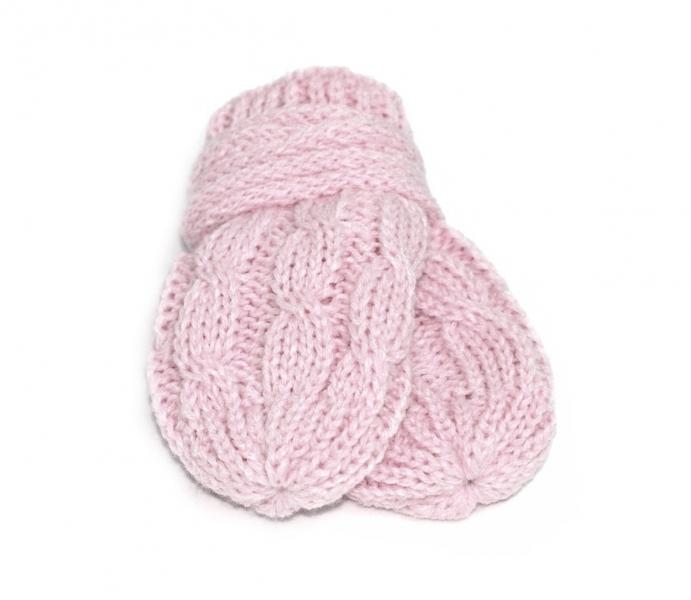 BABY NELLYS Zimní pletené kojenecké rukavičky se vzorem - sv. růžové - 12cm rukavičky