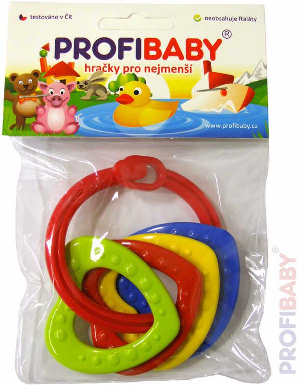 PROFIBABY Baby kroužek zapínací se 4 přívěsky různé barvy pro miminko