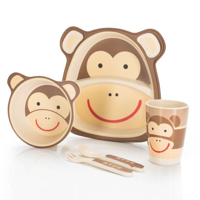 Dětská jídelní sada z bambusu - opice