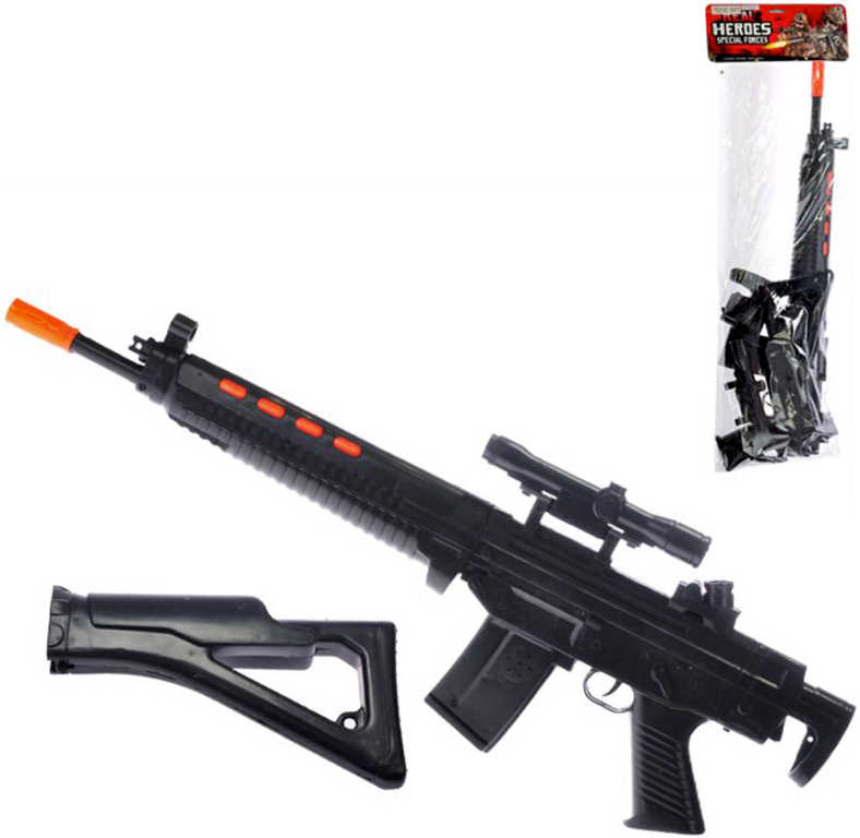 Samopal skládací 89cm dětská zbraň na setrvačník plast v sáčku