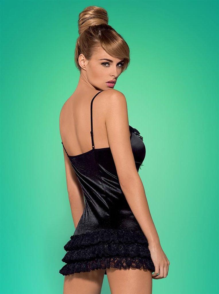 Košilka Obsessive Blackbella chemise - Černá - L/XL