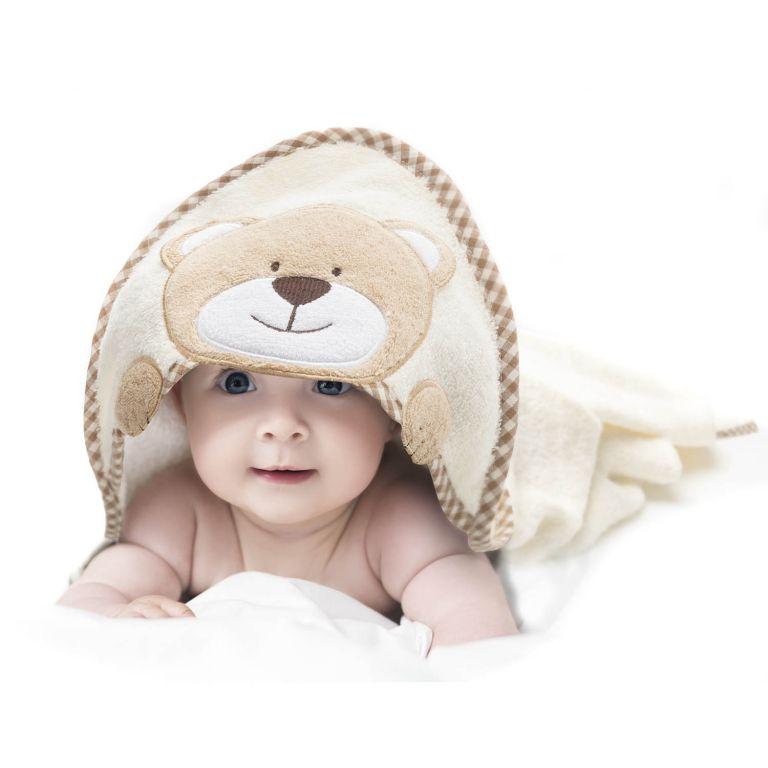 Dětská osuška s kapucí 76 x 76 cm - medvěd