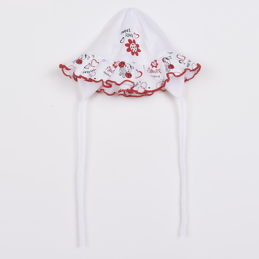 - Kojenecká čepička New Baby Beruška - bílá/56 (0-3m)
