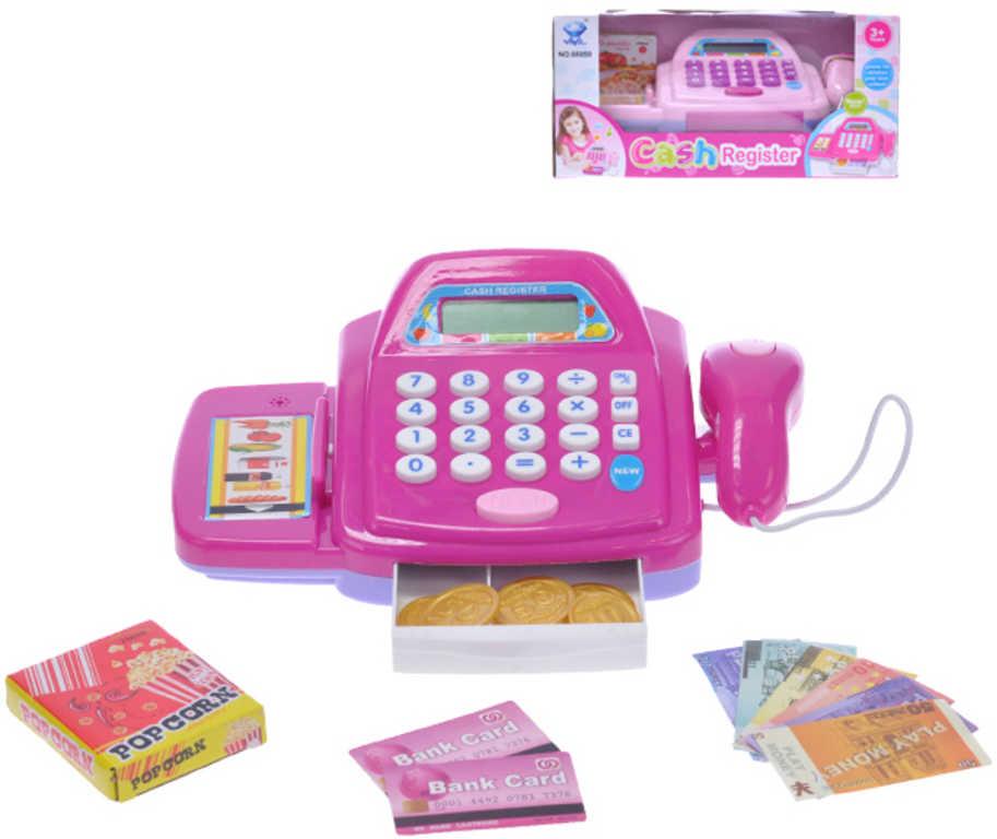 Pokladna registrační na baterie růžová 24cm set s doplňky plast 2 barvy Světlo Zvuk