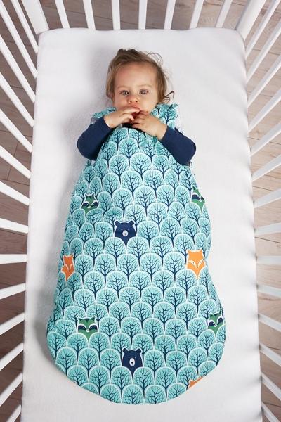 Baby Nellys Bavlněný spací vak Lesík tyrkys, 48x80cm