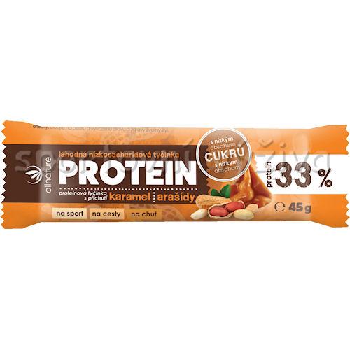 Proteinová nízkosacharidová tyčinka 33% 45g-karamel-arasidy