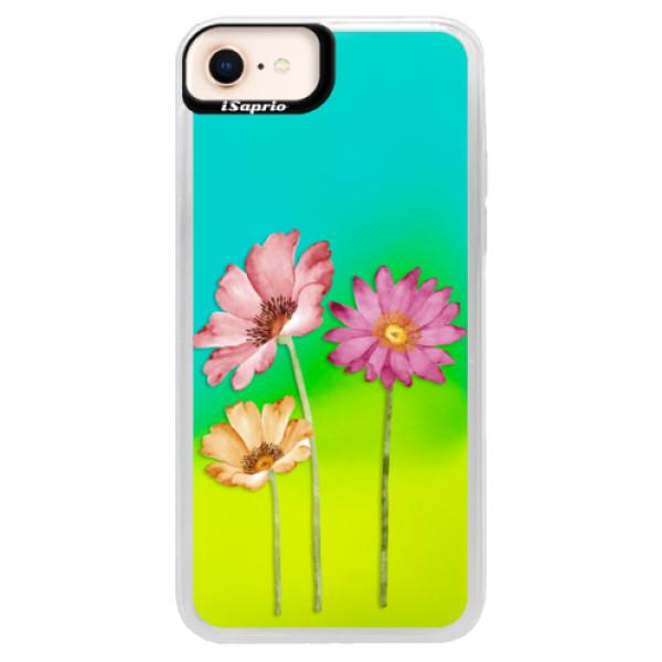 Neonové pouzdro Blue iSaprio - Three Flowers - iPhone 8