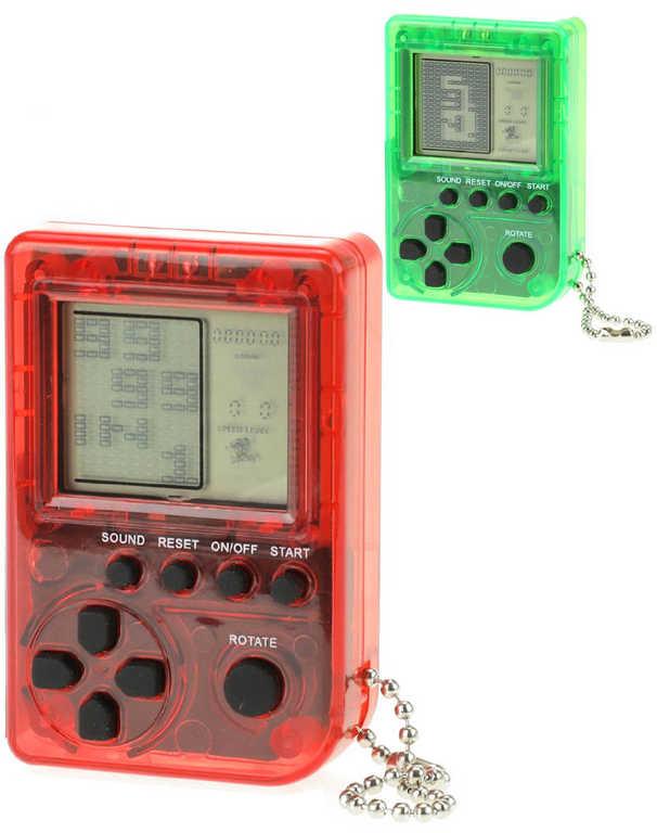 Hra Brick Game dígitální Tetris kapesní přívěsek na baterie různé barvy
