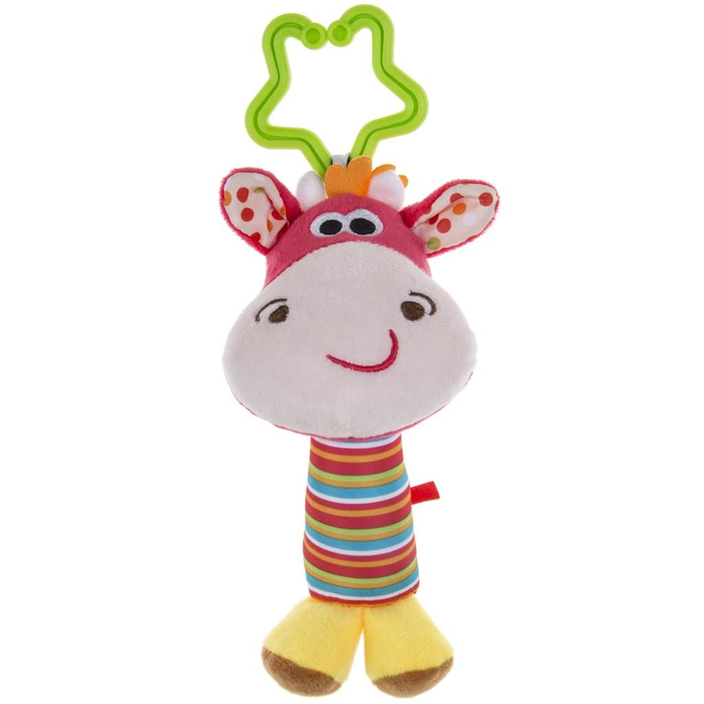 Plyšová hračka s chrastítkem Akuku jelen - růžová