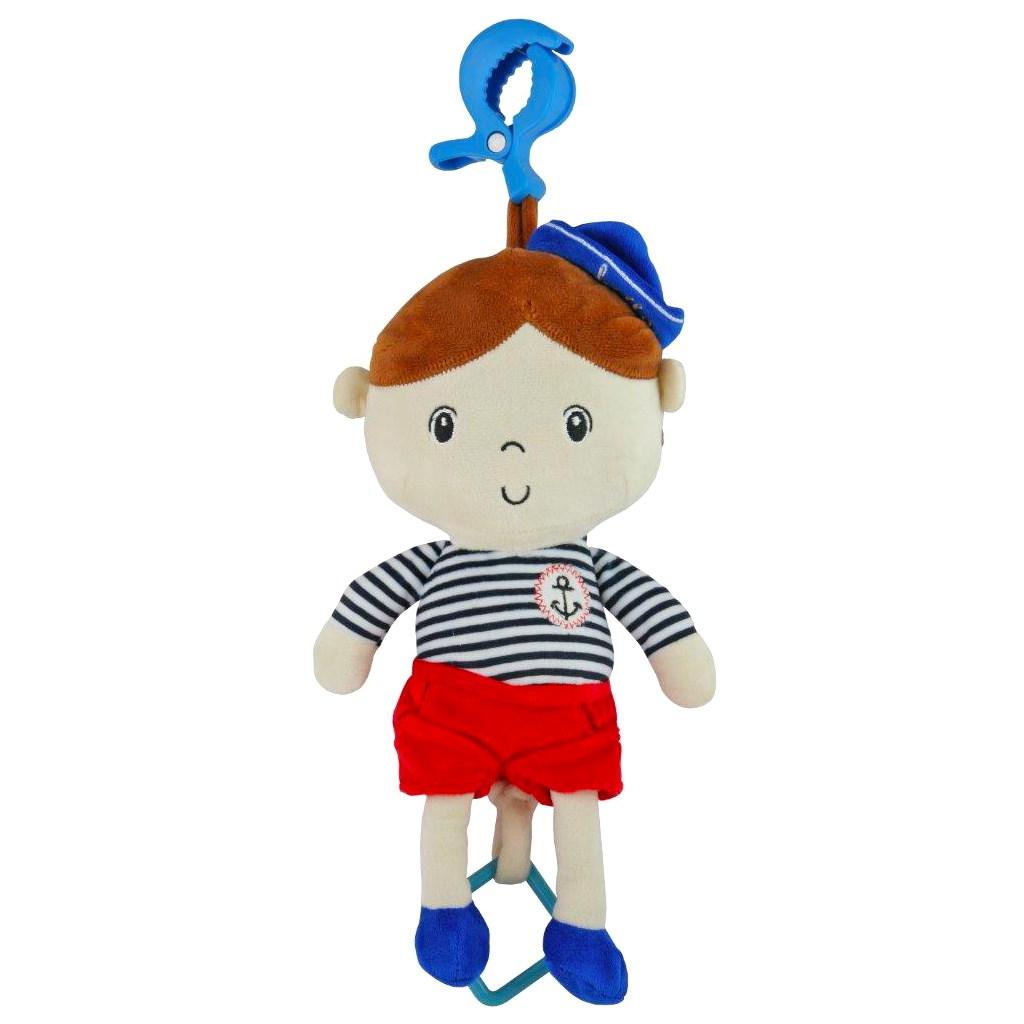 Edukační hrající plyšová panenka Baby Mix námořník kluk - červená