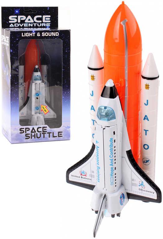 Raketoplán vesmírná raketa 20cm na baterie Světlo Zvuk kov v krabičce