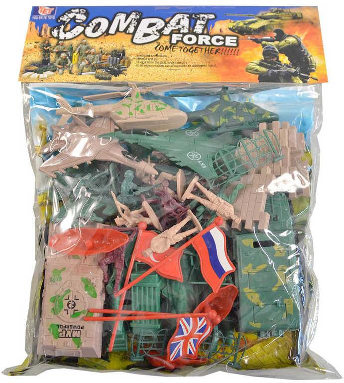Vojáci herní army set plastové figurky vojenské s vozidly a doplňky v sáčku