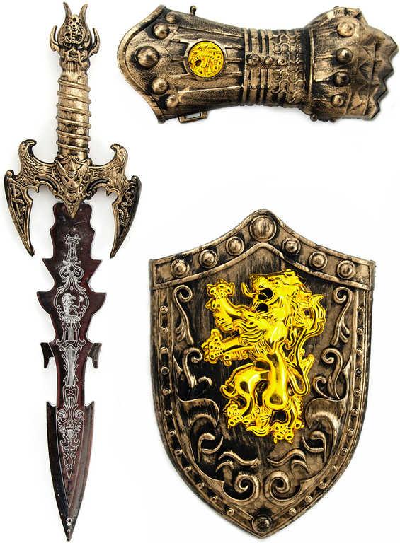 Rytířská sada meč zdobený plastový se štítem a rukavicí malý rytíř na kartě