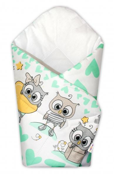Novorozenecká zavinovačka Cute Owls - zelená