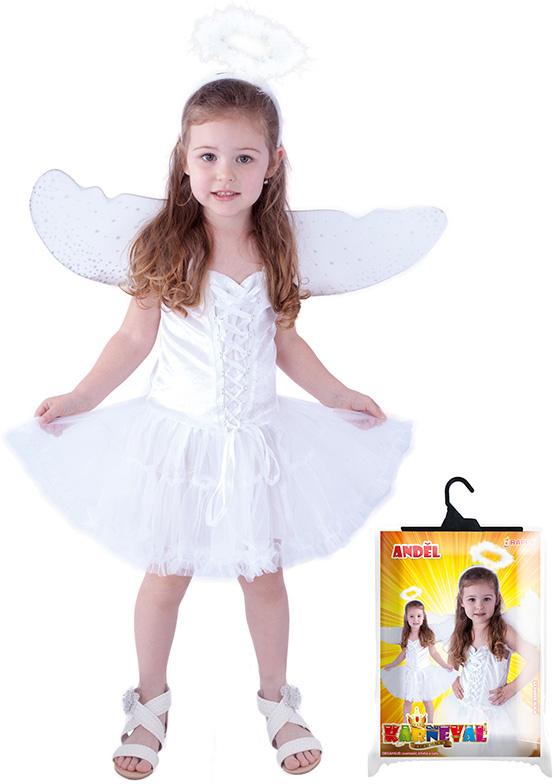 KARNEVAL Šaty anděl se svatozáří vel.S (110-116 cm) 4-6 let KOSTÝM