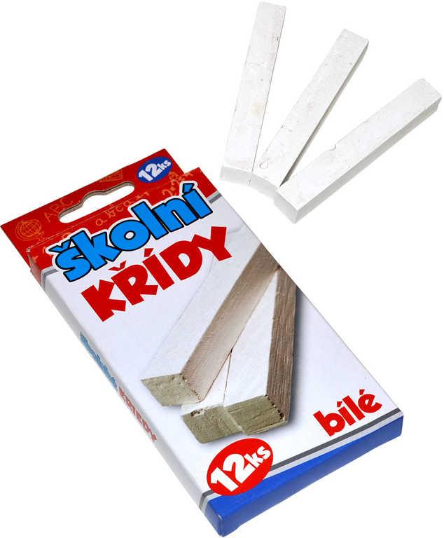 Křídy dětské bílé školní set 12ks hranaté 8cm v krabičce