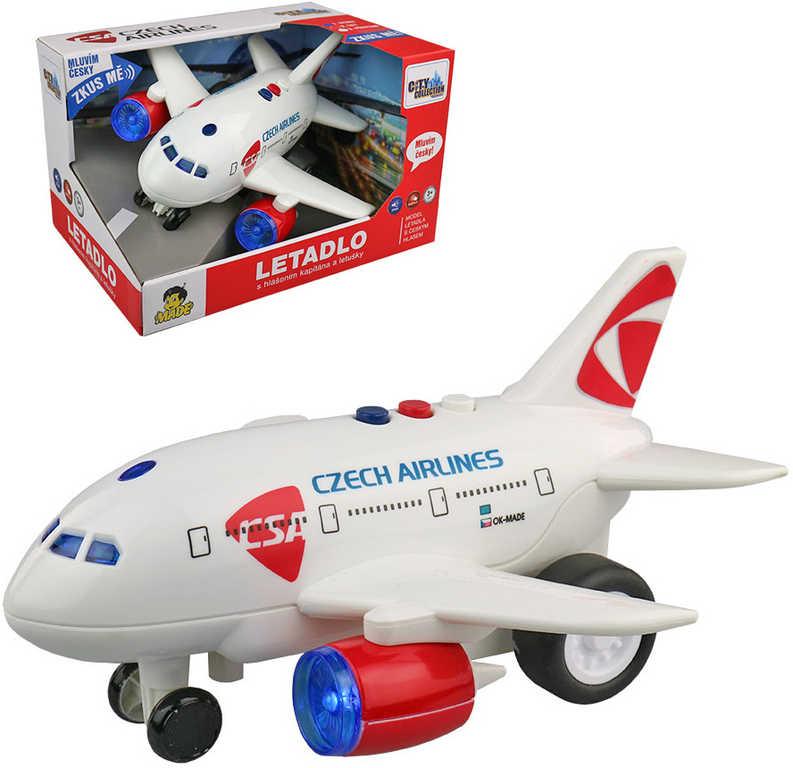 Letadlo ČSA Czech Airlines s hlášením na setrvačník na baterie CZ