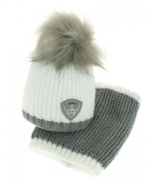 Zimní čepice s komínkem - chlupáčková bambulka - bílá/šedá (0-6m)