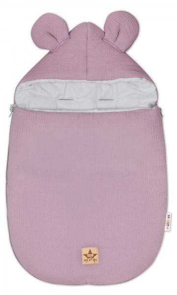 Baby Nellys Luxusní lehoučky mušelínový fusak, 90 x 50 cm, fialový