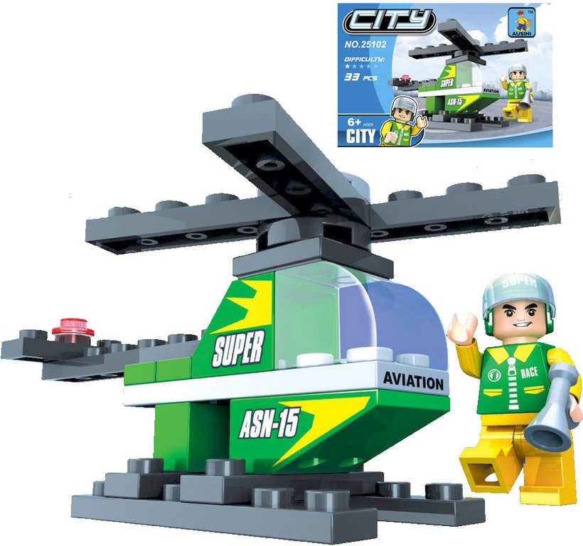 AUSINI Stavebnice MĚSTO Vrtulník 33 dílků + 1 figurka pilot plast