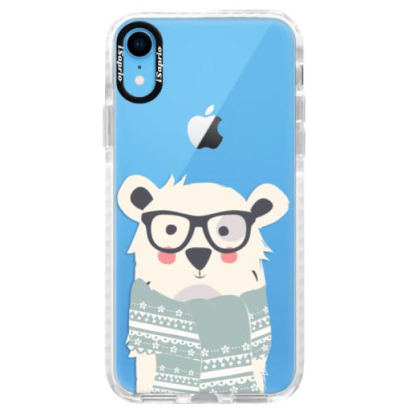 Silikonové pouzdro Bumper iSaprio - Bear with Scarf - iPhone XR