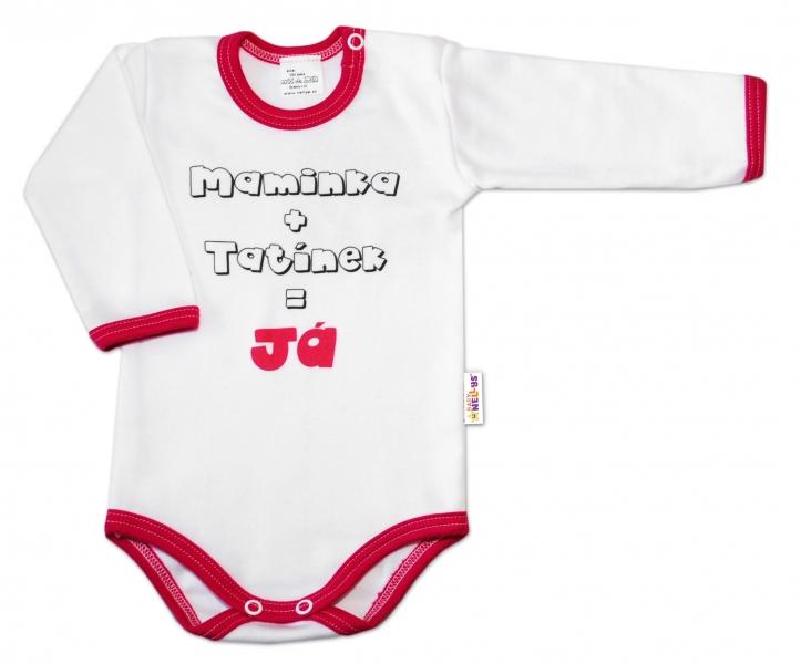 Baby Nellys Body dl. rukáv vel. 80, Maminka + tatínek = Já - tm.růžový lem - 80 (9-12m)