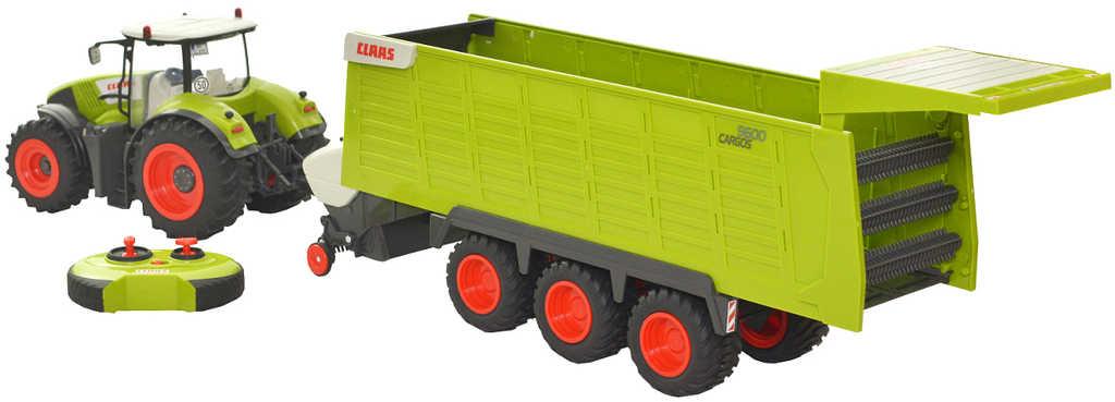 RC Traktor Claas Axion + přívěs na vysílačku 2,4GHz na baterie Světlo