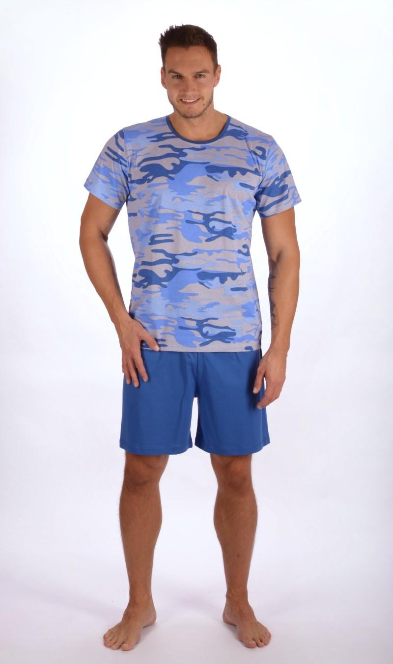 Pánské pyžamo šortky Army - Gazzaz - Světle modrá/M
