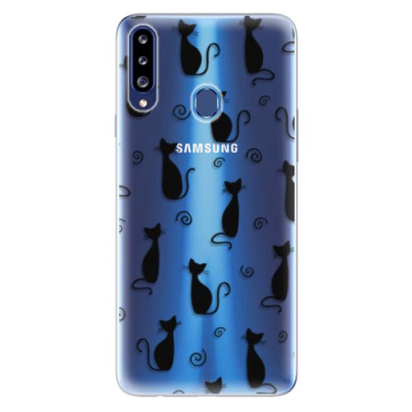 Odolné silikonové pouzdro iSaprio - Cat pattern 05 - black - Samsung Galaxy A20s
