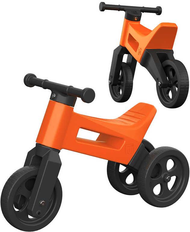Dětské odrážedlo Funny Wheels 2v1 odstrkovadlo tříkolka / 2 kola ORANŽOVÉ plast