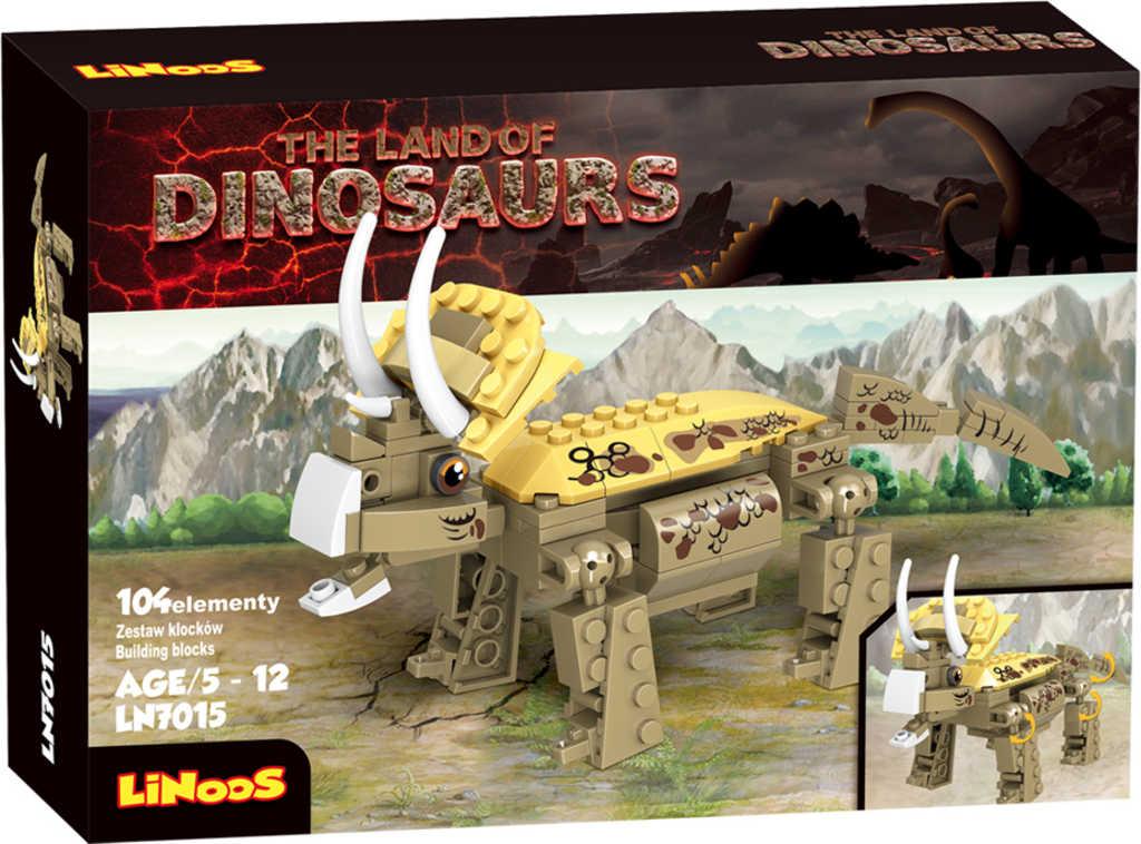 LiNooS Dinosaurus Triceratops 104 dílků plast STAVEBNICE