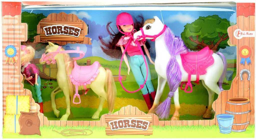 Jezdecký set kůň osedlaný 2ks + panenka žokejka 2ks v krabici