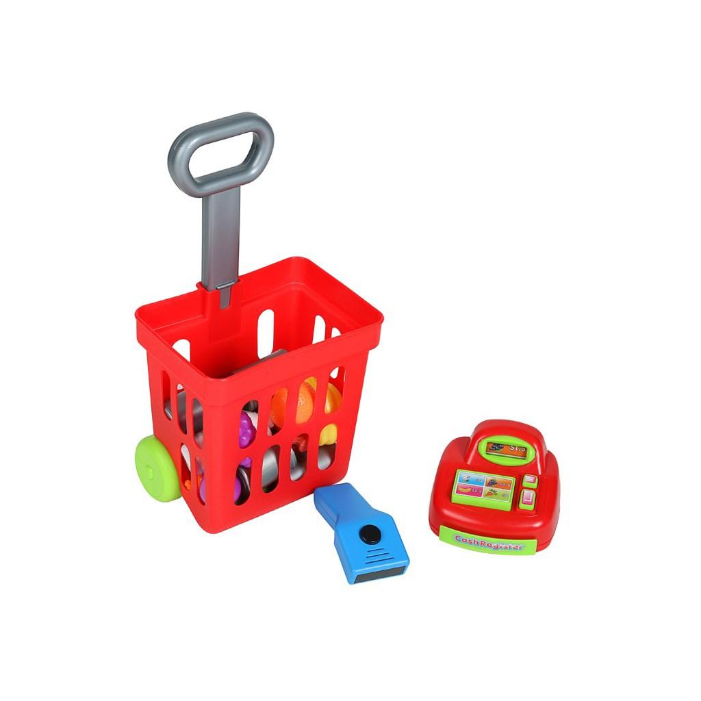 Dětský nákupní košík s příslušenstvím Bayo 27 ks - červená
