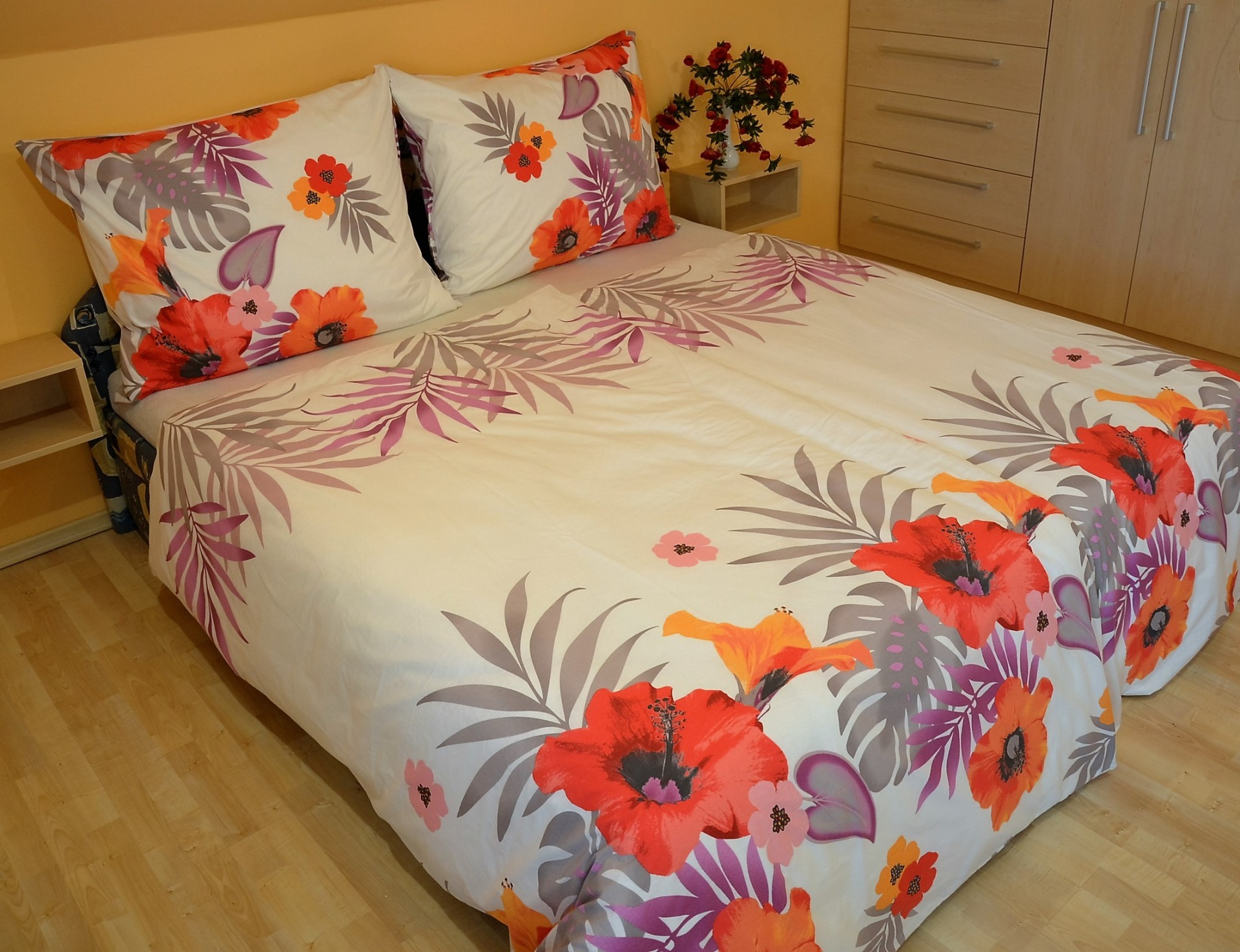 Přehoz přes postel dvoulůžkový Lilie červená, Výběr rozměru: