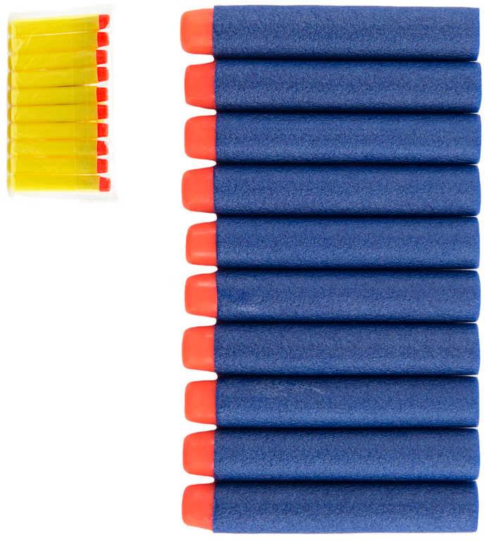 Náboje náhradní soft pěnové set 10ks 7cm do pistole v sáčku 2 barvy