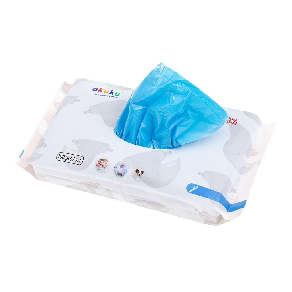 Voňavé sáčky na použité plenky Akuku 100 ks - modrá