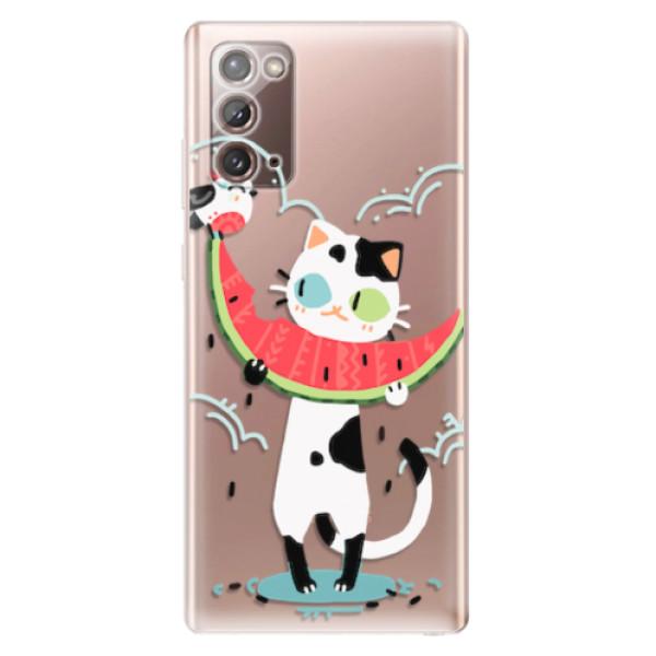 Odolné silikonové pouzdro iSaprio - Cat with melon - Samsung Galaxy Note 20