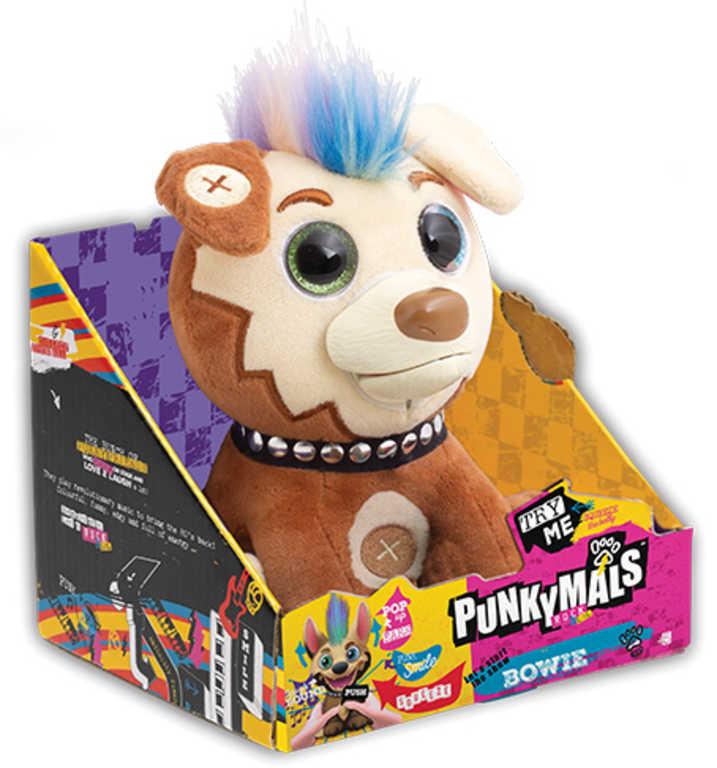 PLYŠ Zvířátko Punkymals Bowie 18cm smějící se pes na baterie Zvuk