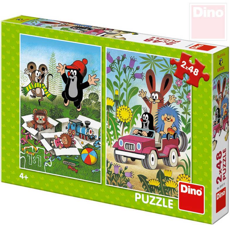 DINO Puzzle 2x48 dílků Krtek se raduje (Krteček) 18x26,5cm skládačka 2v1