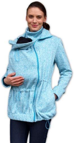 Nosící fleecová mikina - pro nošení dítěte ve předu - tyrkysový
