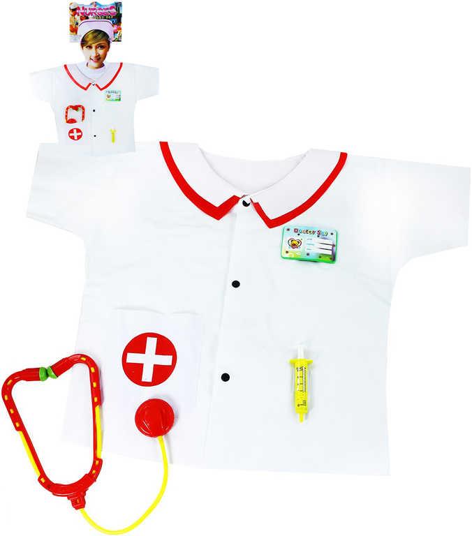 KARNEVAL Plášť zdravotnický set s doplňky vel.S (104-128 cm) 3-8 let