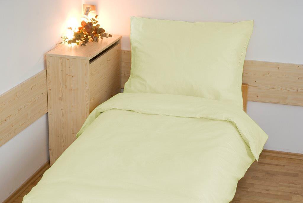Povlečení bavlna UNI 140x200, 70x90cm Světle žlutá, Výběr zapínání: - zipový uzávěr