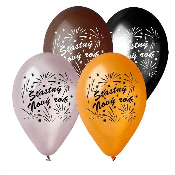 Balonek nafukovací 11'' průměr 30cm Šťasný Nový rok 6ks v sáčku
